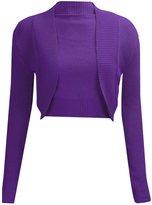 Fashion Box Womens Plain Long Sleeves Bolero Shrug Knitted Cardigan Top