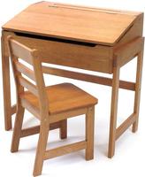 Lipper Pecan Finish Child's Slant-Top Desk & Chair