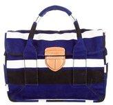Prada Striped Leather-Trimmed Messenger Bag
