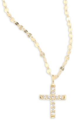 Lana Girl Mini Cross Diamond Pendant Necklace