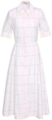Emilia Wickstead Flared Checked Cotton-poplin Midi Shirt Dress