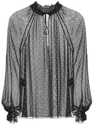 Saint Laurent Heart printed silk blouse