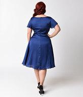 Unique Vintage Plus Size 1940s Royal Blue Cap Sleeve Formosa Swing Dress