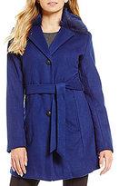 Antonio Melani Real Fur Collar Single Breasted Wool Belted Coat