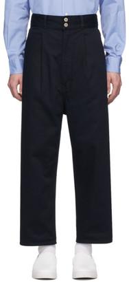 Comme des Garçons Homme Navy Cotton Drill Garment-Dyed Trousers