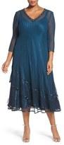Komarov Plus Size Women's Embellished Chiffon & Lace Dress