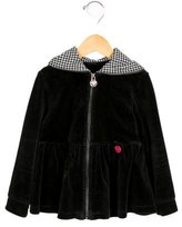 Blumarine Girls' Velvet Zip-Up Sweater