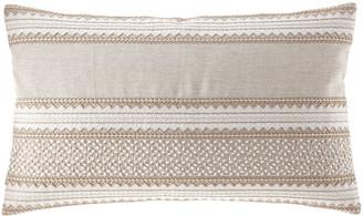 Callisto Home Embroidered Linen Lumbar Pillow