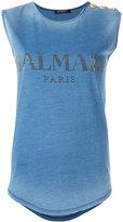 Balmain logo print tank top - women - Cotton - 40