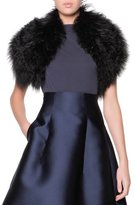 Giorgio Armani Curly Lamb Shearling Fur Collar, Black