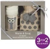 Snowy Owl Warm & Snug Set With Hot Water Bottle, Socks & Mug