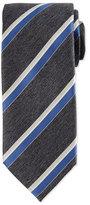 Brioni Woven Herringbone Grenadine Striped Silk Tie
