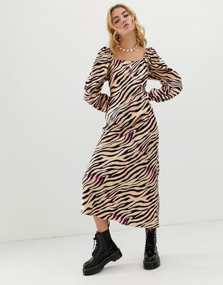 Asos Design DESIGN bias cut maxi dress in zebra print with long sleeves-Multi