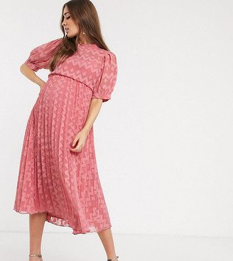 Asos DESIGN Maternity high neck pleated chevron dobby midi dress with puff sleeve in tea rose