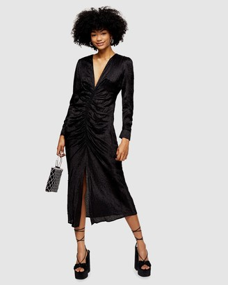 Topshop Embellished Jacquard Midi Dress