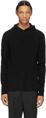 Rick Owens Black Cashmere Boiled Hoodie