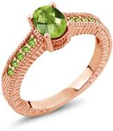 Gem Stone King 1.50 Ct Oval Peridot and Simulated Peridot 14K Rose Gold Engagement Ring