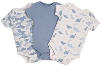 Kyle & Deena Boys' Infant Bodysuits Blue - Blue Dinosaur Bodysuit Set - Newborn & Infant