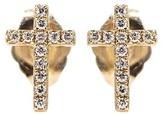 Sydney Evan Mini Cross 14kt Gold Earrings With White Diamonds