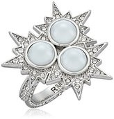 Rebecca Minkoff Rock N Roll Statement Silver with Crystal and Pearl Ring, Size