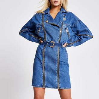 River Island Womens Blue long sleeve denim biker mini dress