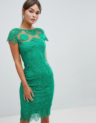 Paper Dolls Cap Sleeve Crochet Lace Pencil Dress