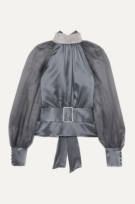 HARMUR Open-back Belted Crystal-embellished Silk-satin And Tulle Blouse - Gunmetal