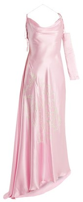 Art School Acid Jazz Asymmetric Silk Dress - Light Pink