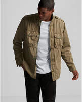 Express button front cotton shirt jacket