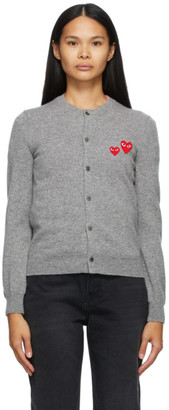 Comme des Garcons Grey Asymmetric Double Heart Cardigan