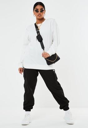 Missguided Plus Size White Zip Shoulder Sweatshirt