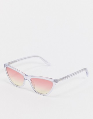 Love Moschino Love Morchino cat eye sunglasses in clear frame and ombre lens