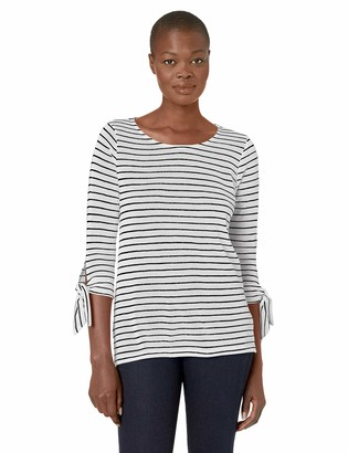 Tribal Women's 3/4 Sleeve Stripe Top with Ties