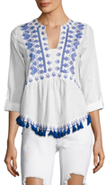 Kas England Cotton Embroidered Blouse