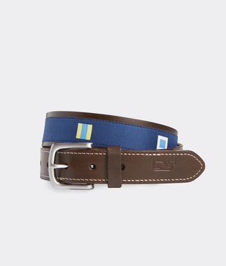 Vineyard Vines EDSFTG Signal Flags Leather Club Belt