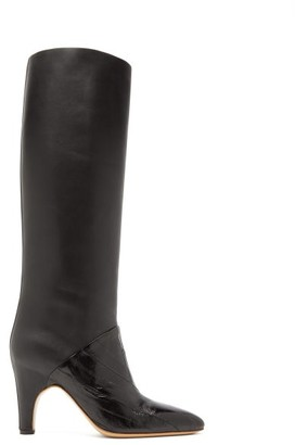 Gabriela Hearst Rimbaud Patent And Smooth Leather Knee-high Boots - Black