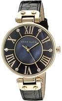 Anne Klein AK/1396BMBK Black and Gold-Tone Leather Croco-Grain Strap Watch Analog Watches