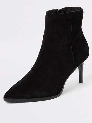 River Island Suede Skinny Heel Ankle Boot - Black