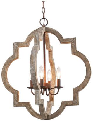 Lnc 4-Light Farmhouse Lantern Chandeliers, Distressed Wood Hanging Light F