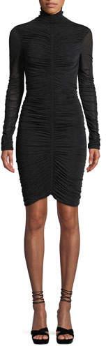 Diane von Furstenberg Olivia Turtleneck Long-Sleeve Ruched Mesh Mini Dress