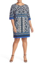 Eliza J Border Print Elbow Sleeve Shift Dress (Plus Size)