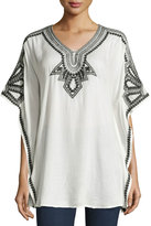 Neiman Marcus Embroidered V-Neck Poncho Top, Off White