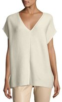 Lafayette 148 New York Short-Sleeve Sequin-Trim V-Neck Sweater, Plus Size