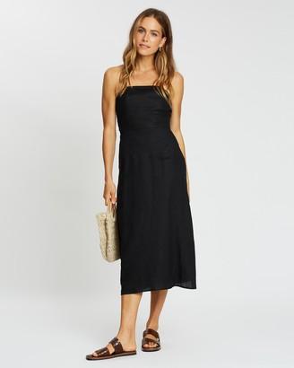 Aere Linen Slip Dress with Split