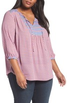 NYDJ Plus Size Women's 'Patchwork Mosaic' Peasant Blouse