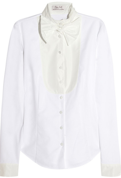 L'Wren Scott Stretch-cotton piqué and taffeta shirt