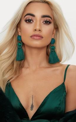 Ice Emerald Green Acrylic Bead Tassel Earring