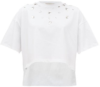 Christopher Kane Step-hem Crystal-embellished Cotton T-shirt - Womens - White