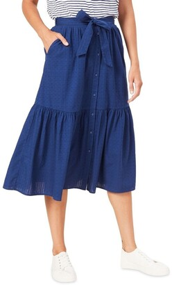 French Connection Tiered Button Through Midi Skirt