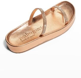 Pedro Garcia Alaia Metallic Crystal Flatform Sandals